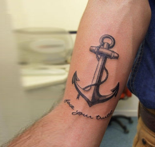 Latest Arm Anchor Tattoo Design