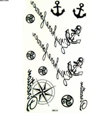Latest New Font Anchor Tattoo Designs