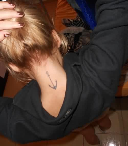 Little Anchor Tattoo On Neck