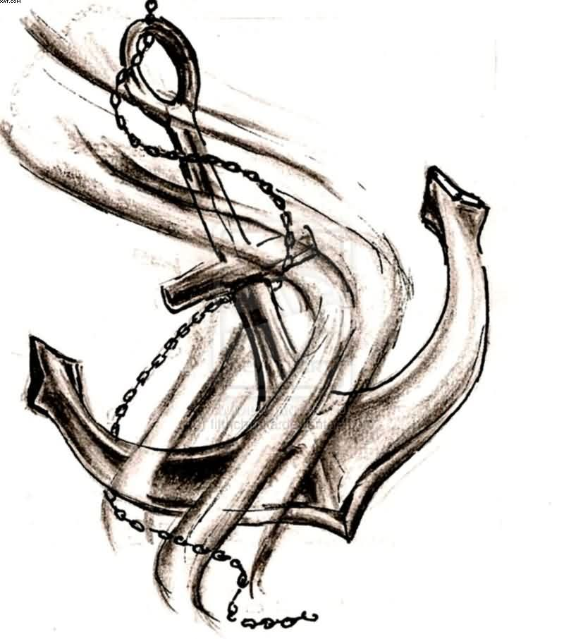Mind Blowing Chain Anchor Tattoo Design
