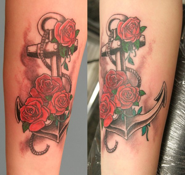 Mind Blowing Rope Anchor With Red Roses Tattoo