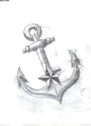 Nautical Star Anchor Tattoo Sketch