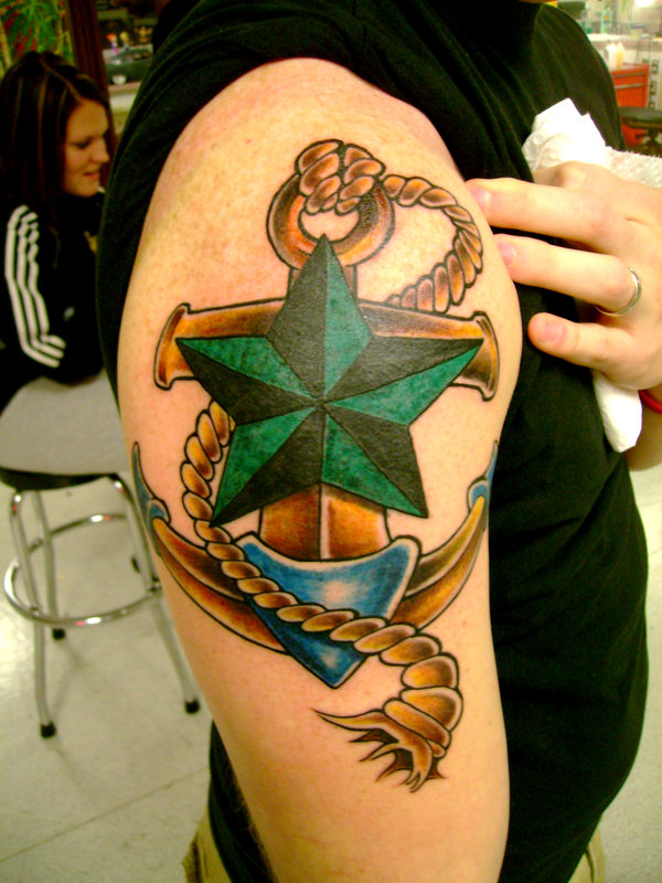 Nautical Star Anchor Tattoo With Rope