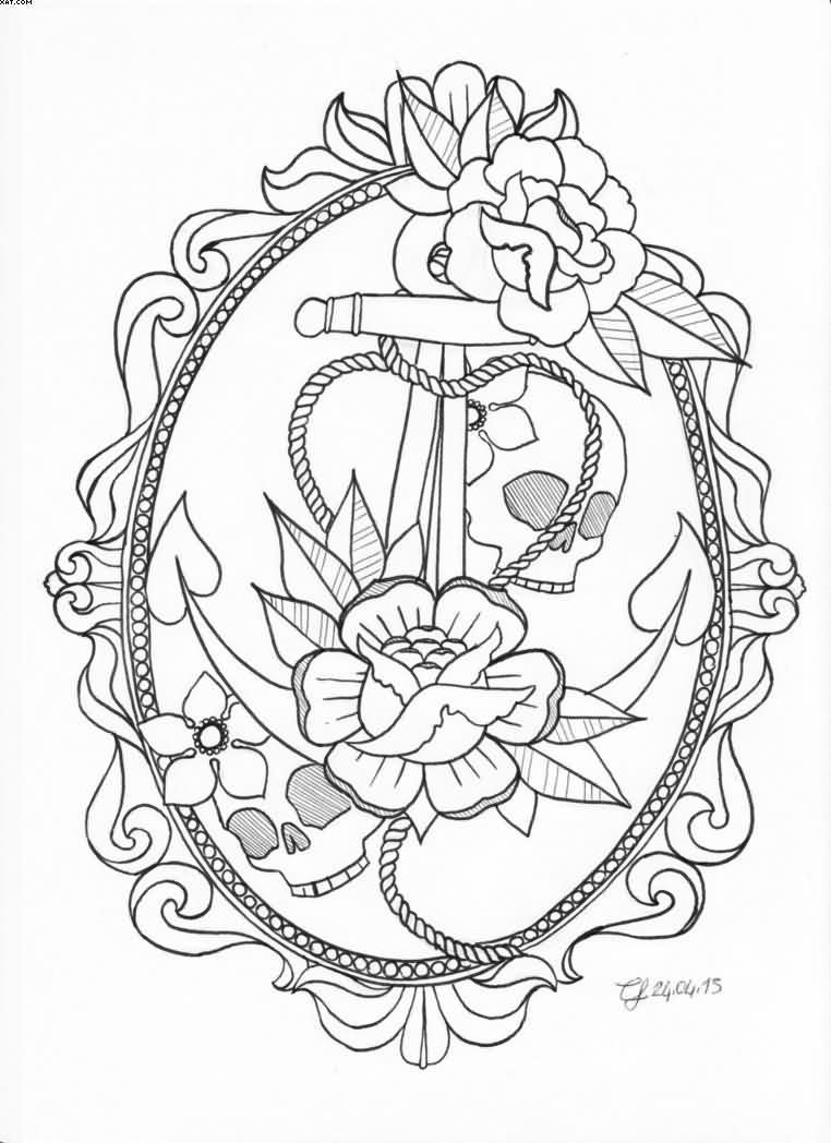 Nice Grey Ink Anchor Tattoo Design