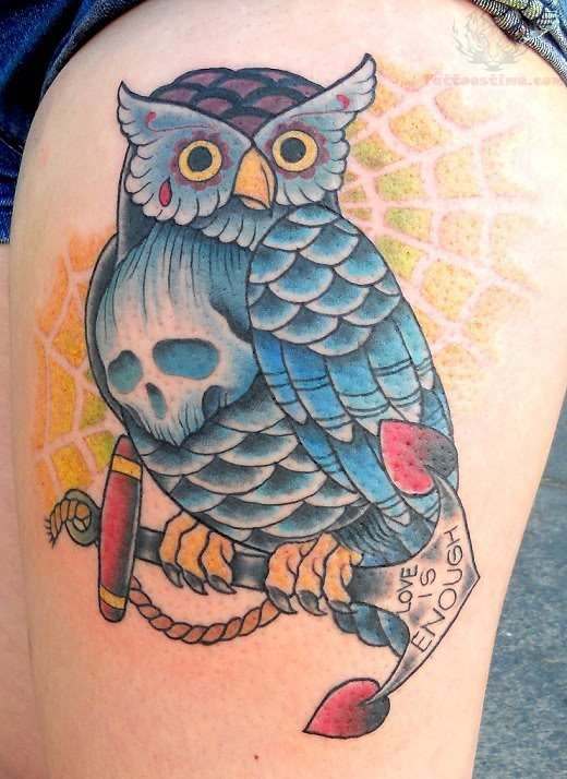 Owl Sitting On Anchor Tattoo