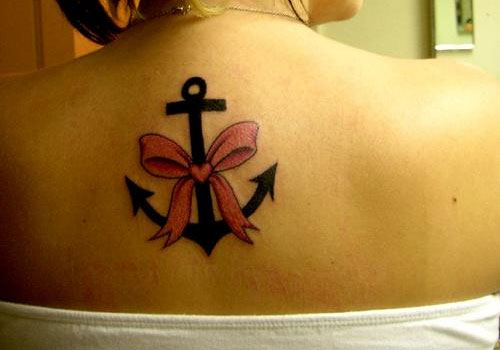 Pink Ribbon Anchor Tattoo On Back