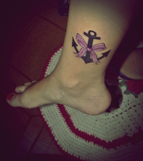 Pink Ribbon Anchor Tattoo On Leg
