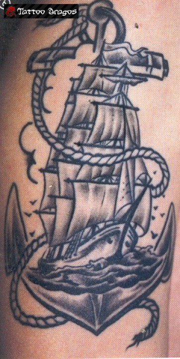 Pirate Ship Anchor Tattoo On Muscles