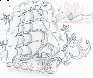 Pirate Ship With Anchor Tattoo Design