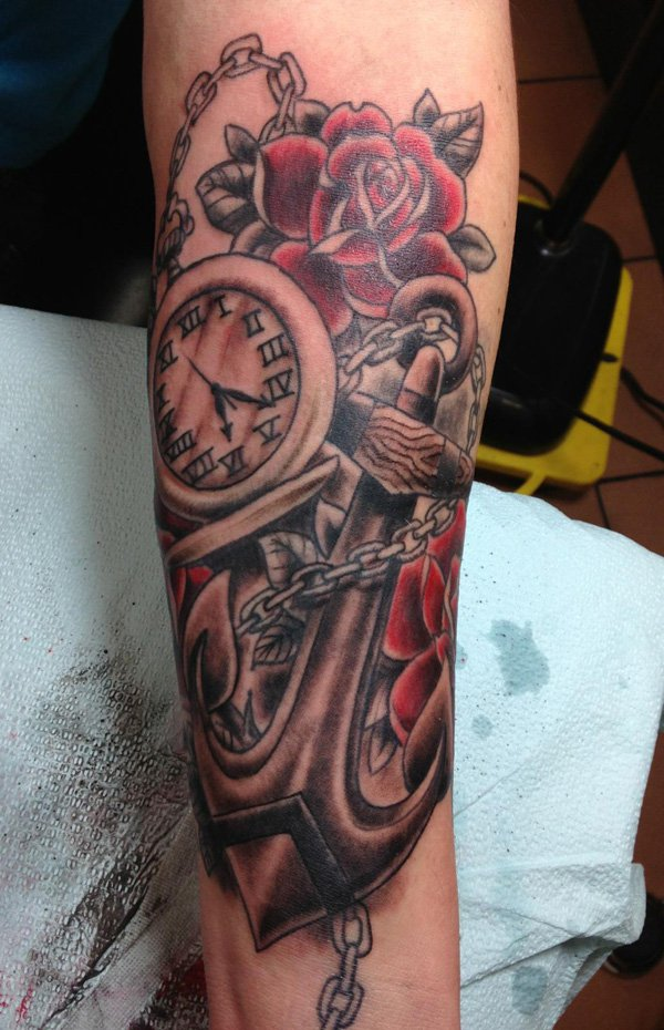 Roses Anchor & Watch Tattoo
