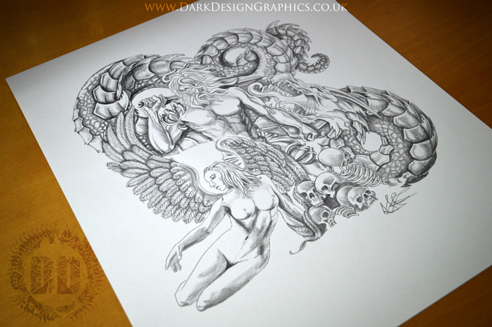 Rough Angel Tattoo Design