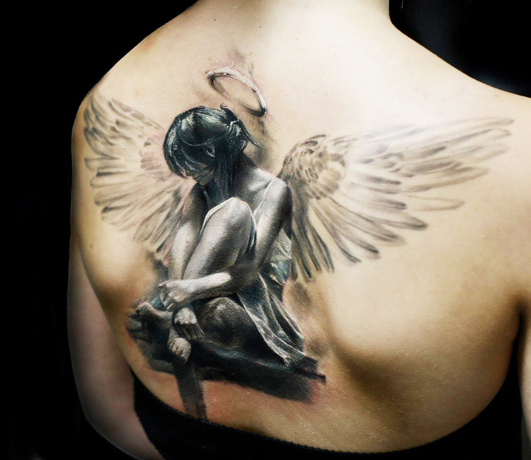 Sad Angel Girl Tattoo