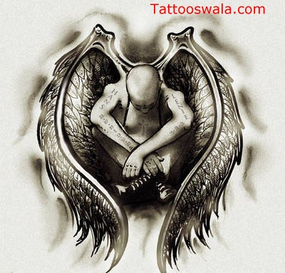 Sad Angel Tattoo Design