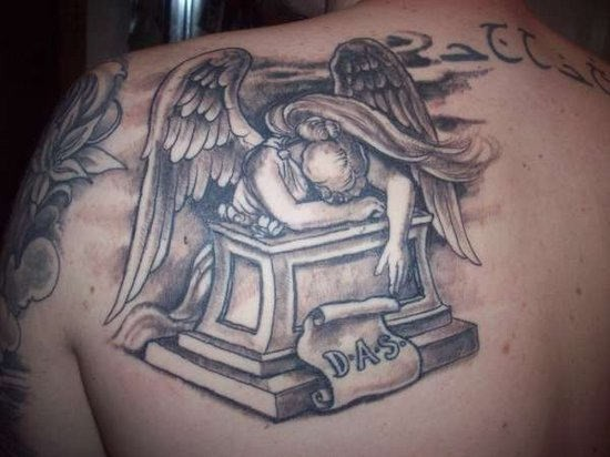 Sad Angel Tattoo On Back Shoulder
