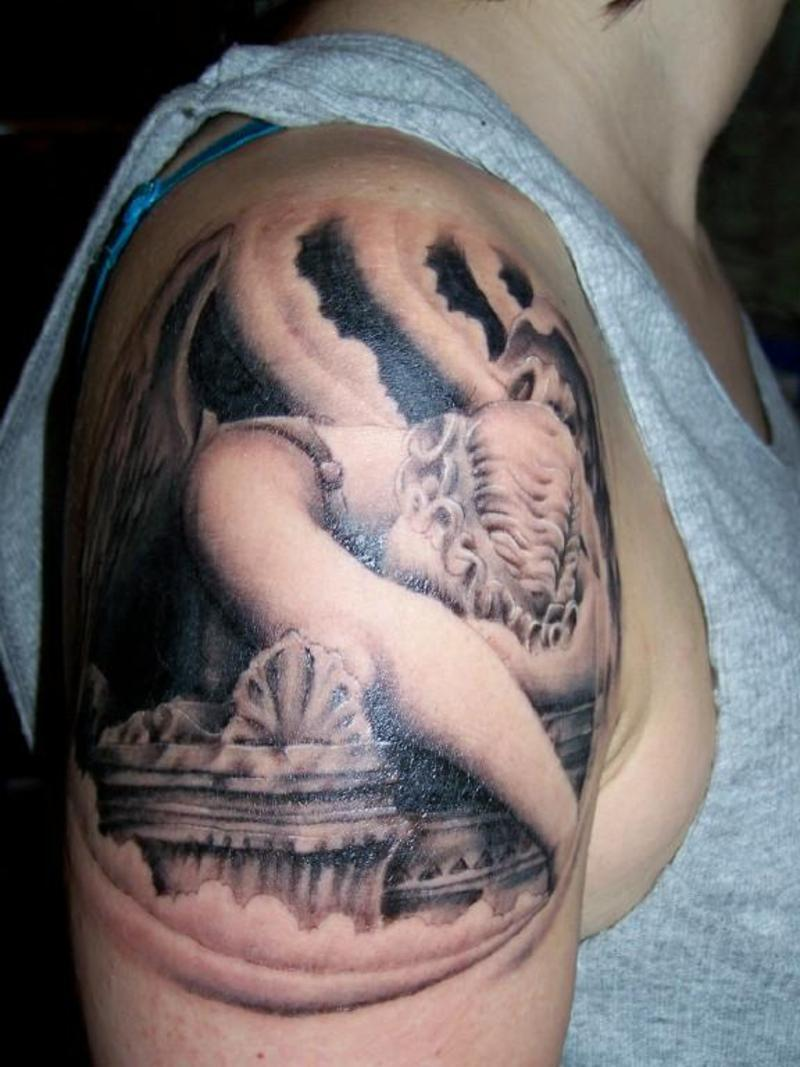 Sad Angel Tattoo On Shoulder