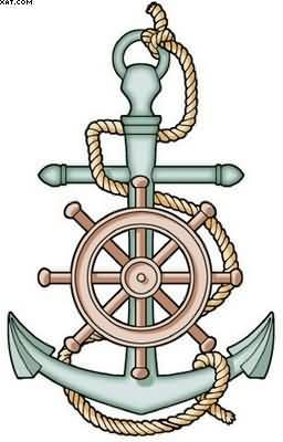 Ship Steering Wheel & Anchor Tattoo