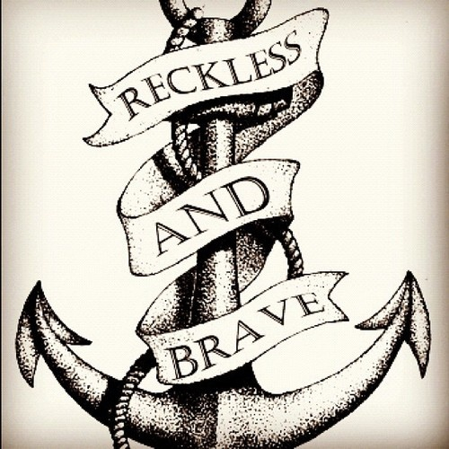 Simple Anchor Tattoo With Rope & Banner