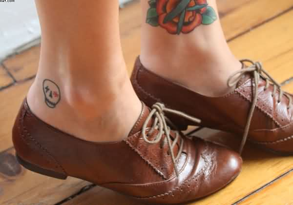 Skull Face Ankle Tattoo