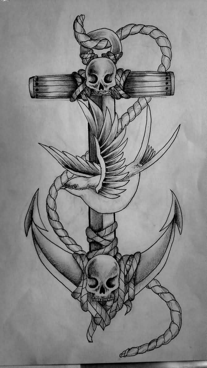 Skull Faces Anchor With Sparrow Tattoo Design