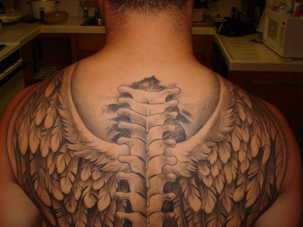 Spine Cord Angel Wings Tattoo