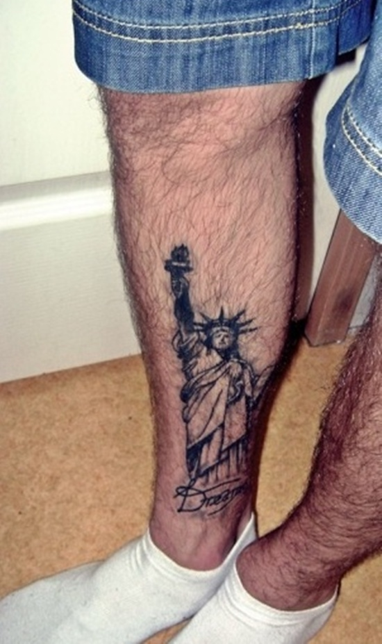 Statue Of Liberty Ankle Tattoo