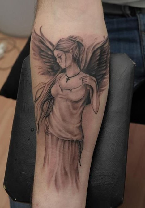 Stylish Angel Girl Tattoo Design