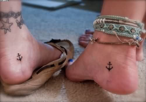 Tiny Ankle Anchor Tattoo