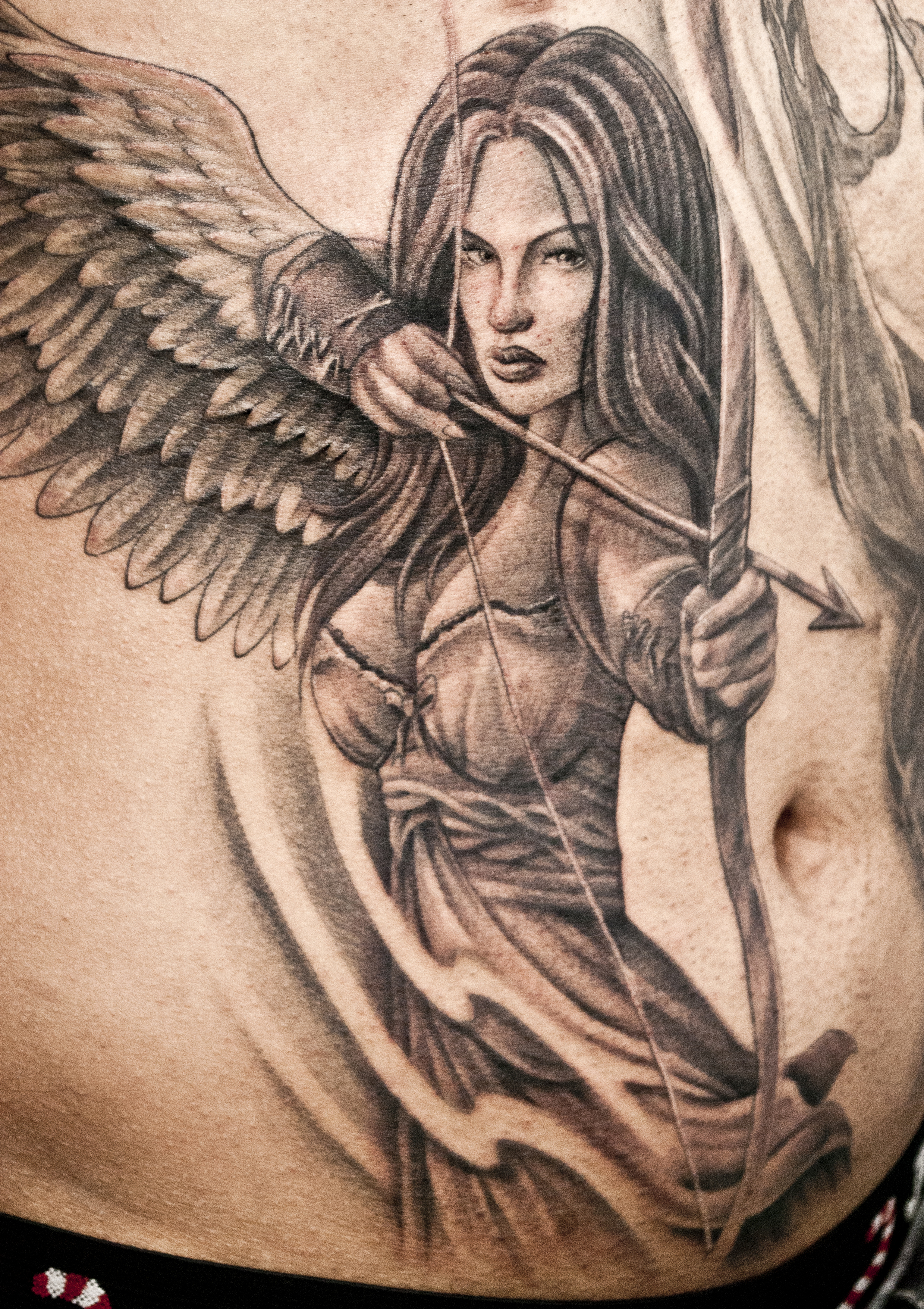 Warrior Angel Girl Tattoo Design