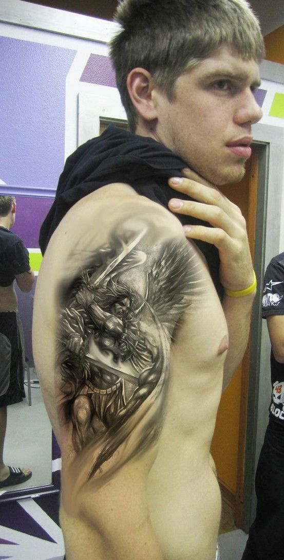 Warrior Angel Tattoo On Shoulder