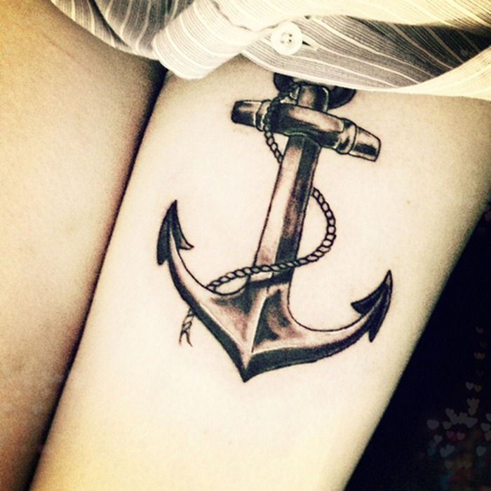 Wonderful Anchor Tattoo Design With Rope