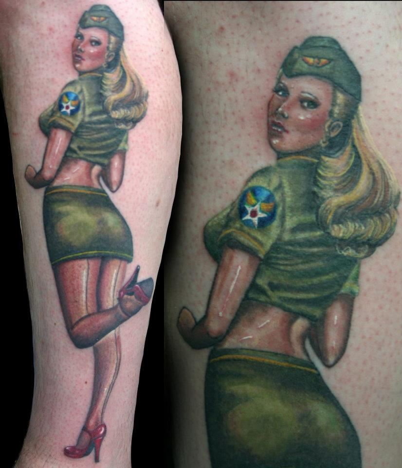 Amanda West Army Pin Up Girl Tattoo