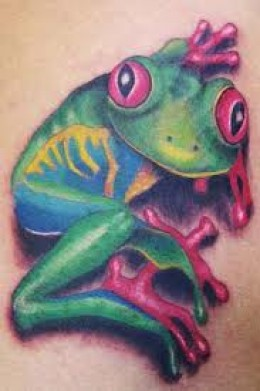 Amazing Aqua Frog Tattoo