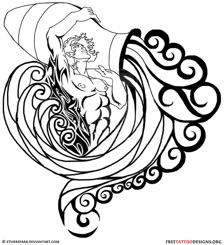 Amazing Aquarius Tattoo Design