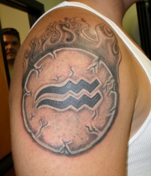 Amazing Aquarius Tattoo On Muscles