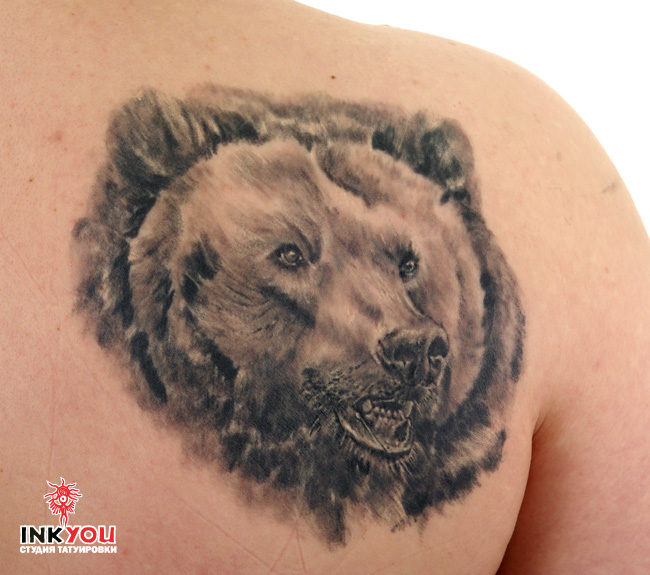 Amazing Bear Face Tattoo On Shoulder Back