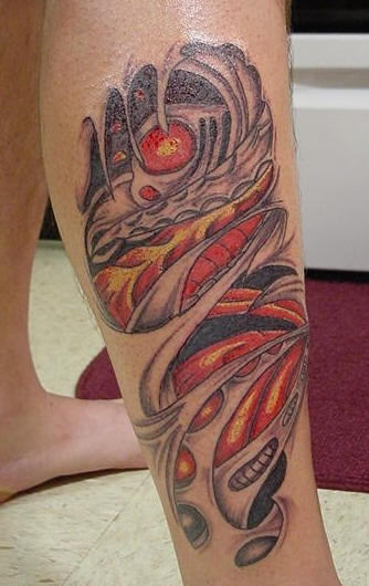 Amazing Biomechanical Leg Tattoo Design