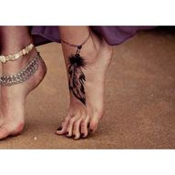 Feather Bracelet Ankle Tattoo