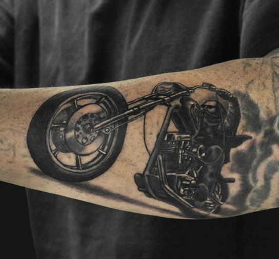 Amazing Forearm Bike Tattoo