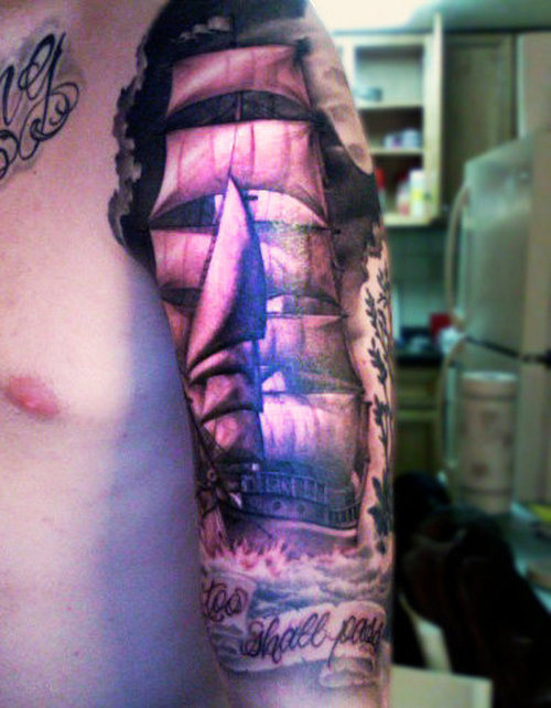 Amazing Pirate Ship Tattoo For Biceps