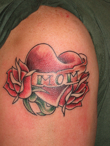 Amazing Rose Heart With Mom Banner Tattoo