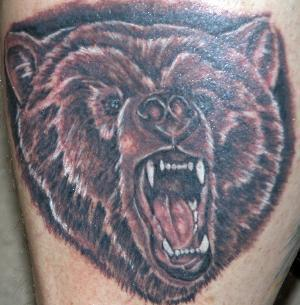 Crawling Bear Face Tattoo