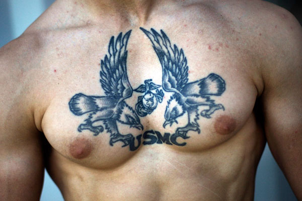 USMC Army Tattoo On Chest