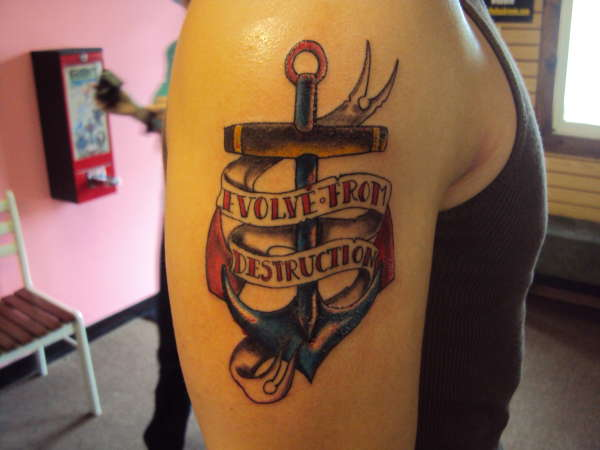 Banner Anchor Tattoo On Biceps