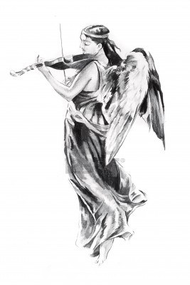 Angel Playing Guitar Tattoo Design