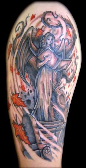 Angel Reading Book Tattoo