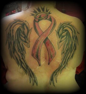 Angel Wings Breast Cancer Ribbon Tattoo On Back