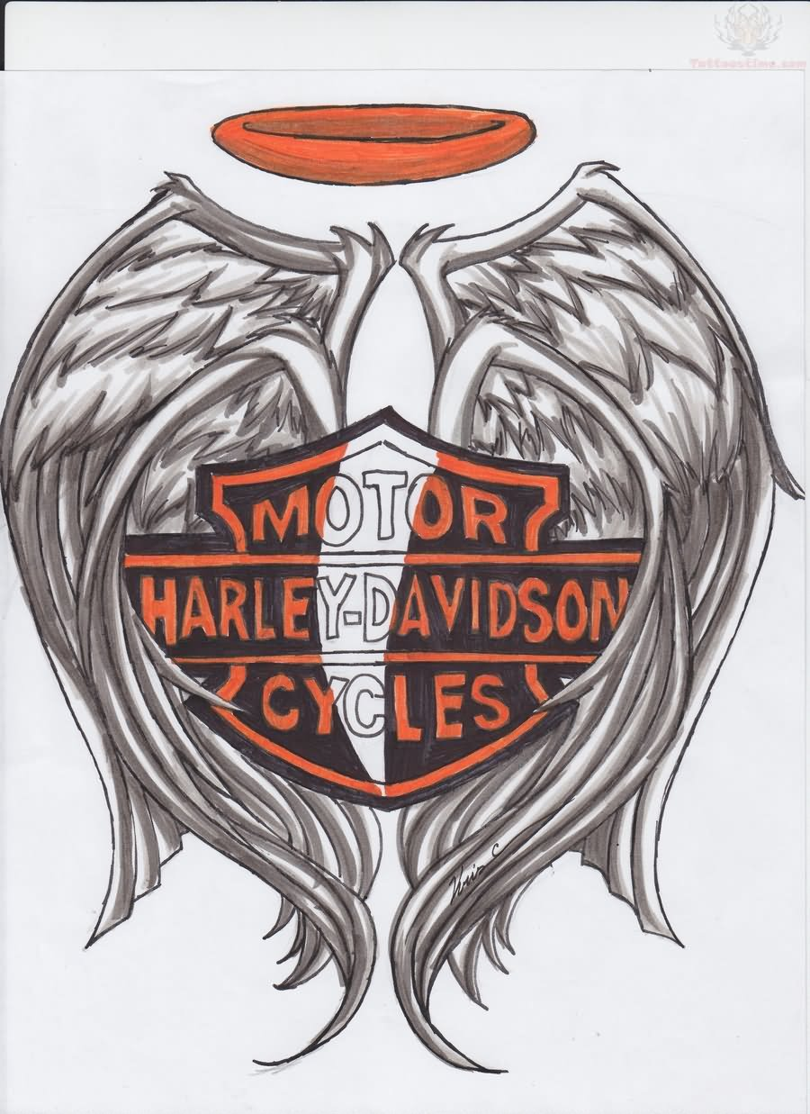 Angel Wings Harley Davidson Tattoo Design