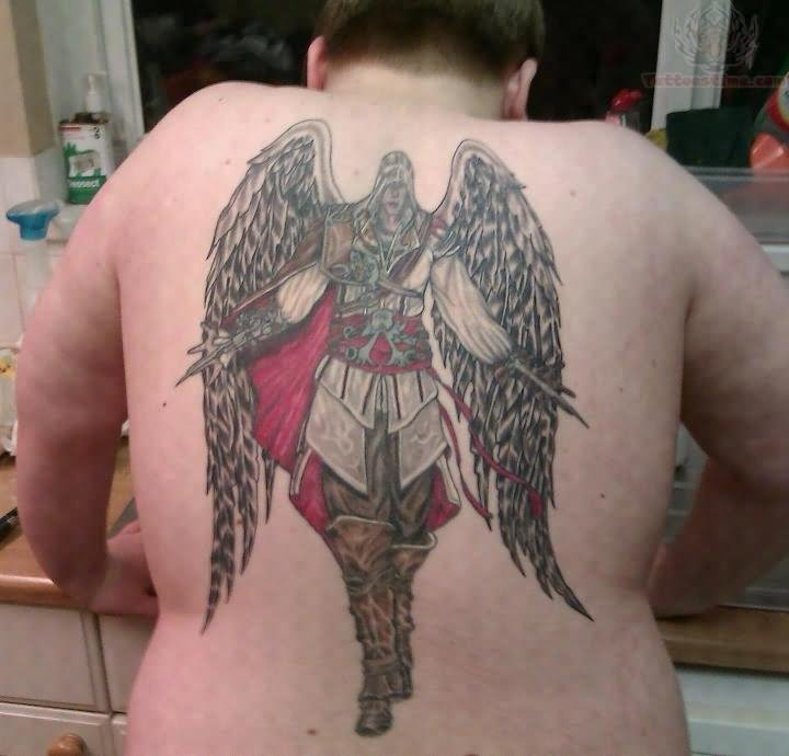 Angel Warrior Tattoo On Back