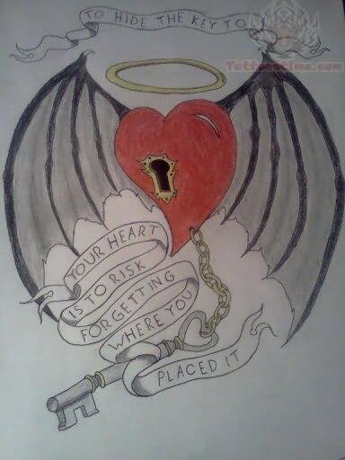 Angel Wings With Lock Heart Tattoo Design