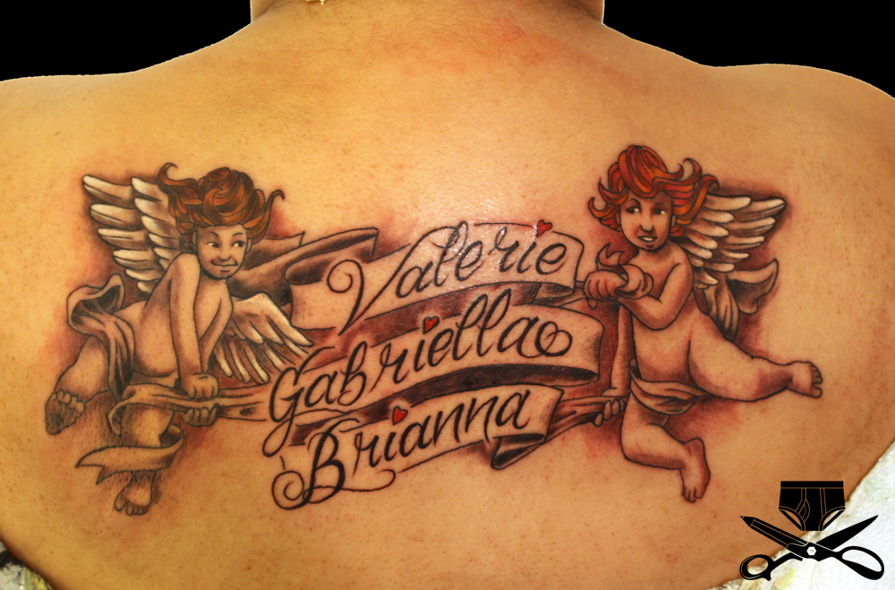 Angel Tattoo Designs With Names Angel With Name Banner Tattoo